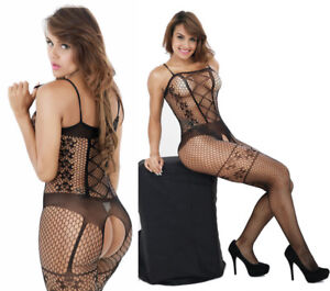 Women-039-s-Bodysuit-Body-Stocking-Lingerie-Fishnet-Babydoll-Nightwear-Sleepwear