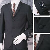 Adaptor Clothing Mod 60's Retro 3 Button Slim Mohair Suit Charcoal