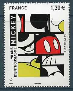 TIMBRE-5259-NEUF-XX-LUXE-90-ANS-DE-MICKEY-A-L-FACON-DE-MANDRIAN-PAR-SIKORA