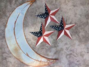 "Set~ 30"" inch RUSTY GALVANIZED MOON & 3 AMERICAN BARN STARS 12"" inch Rustic"