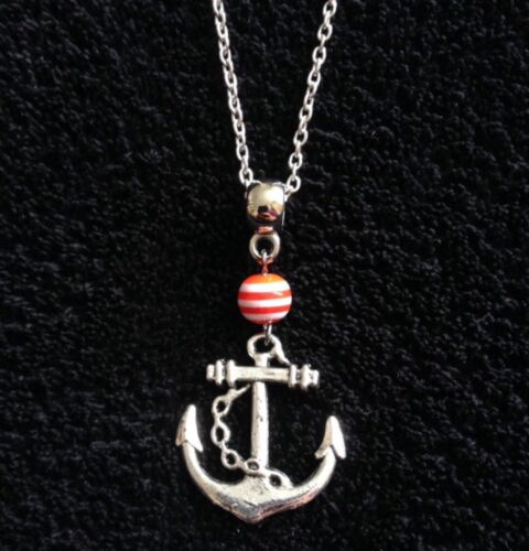 Anchor Necklace 24 Chain Red And White Stripe Charm Bead Rockabilly Vintage UK