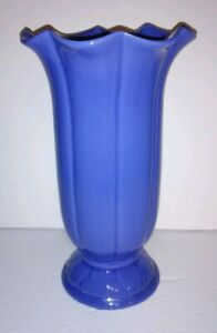 Vintage-Haeger-Pottery-Blue-Trumpet-Vase-12-034-Tall-Ruffled-Art-Deco-Revival