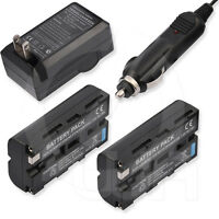 2 Battery+home Wall Car Charger Sony Dsr-pd170 Mini Dvcam Professional Camcorder