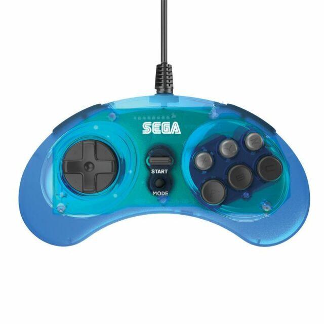 Retro-Bit SEGA Genesis 8-Button Arcade Pad USB Controller for PC Mac Clear Blue