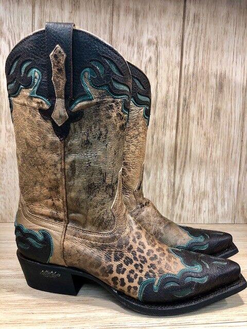 Miss Macie Hill pink Leopard Print Wing Tip Snip Toe Cowgirl Boots U6006  SALE