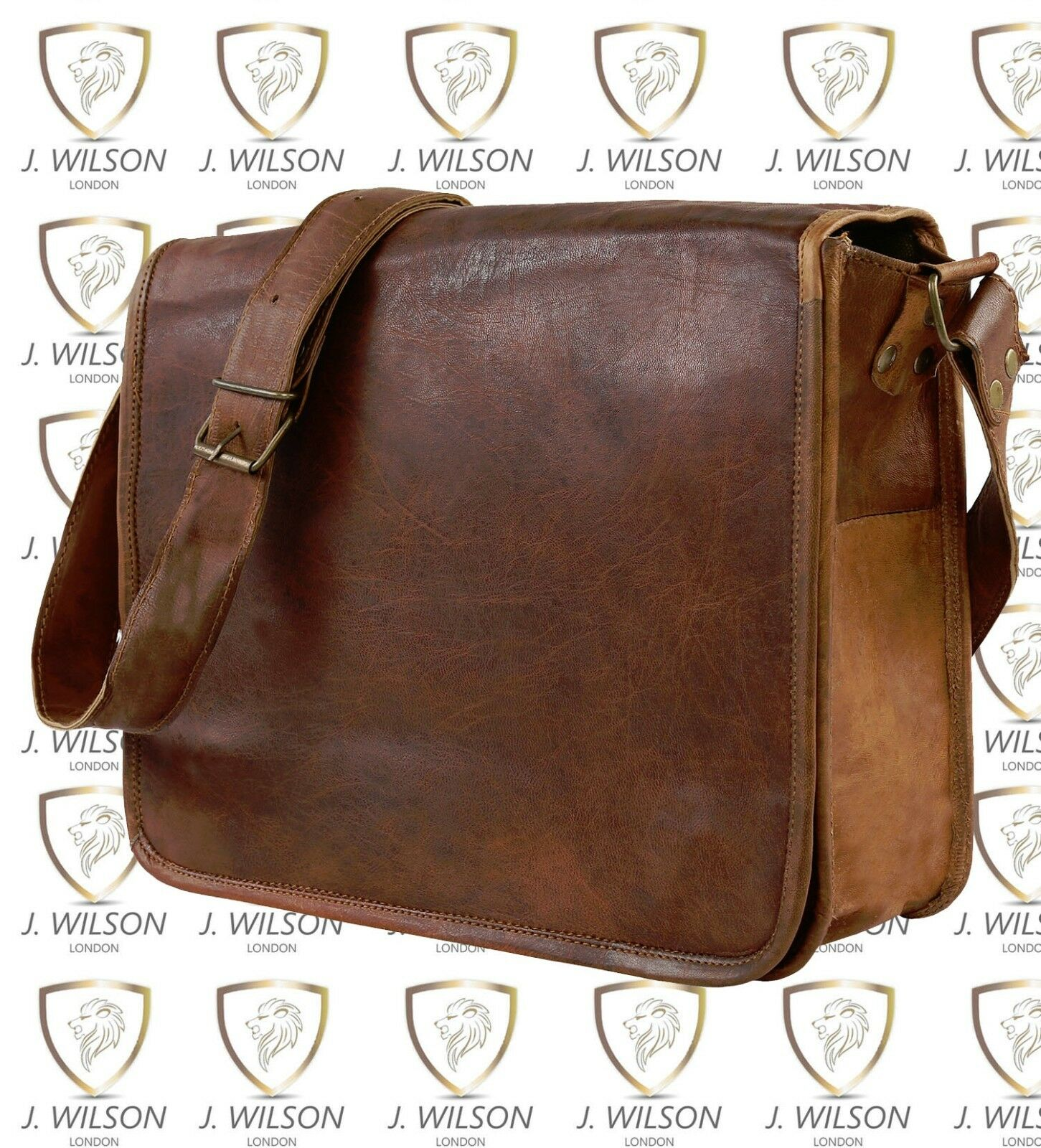 Leder Handgefertigte Designer J Wilson Tasche Vintage Klappe 33cm    | Günstige Bestellung