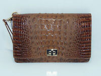 Brahmin Lily Pouch Clutch Toasted Almond Melbourne Style In Leather