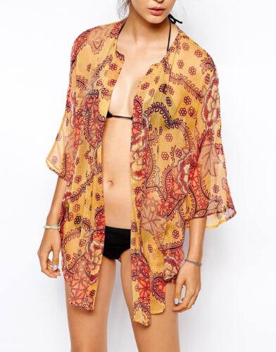 French Connection Size XS//8 to L//14  Sheer Beach Kimono Kaftan Coverup Tunic