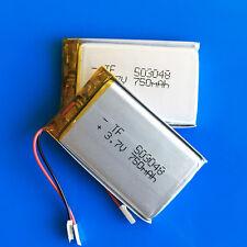 2 pcs 3.7v 750mAh 503048 Lipo Battery for MP3 DVD GPS Camera Recorder Speaker
