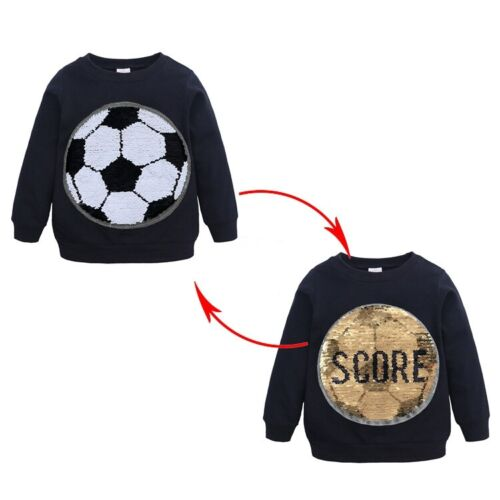 Reversible Sequins Boys Girls T-shirt Spiderman Football Long Sleeve Tops Tee