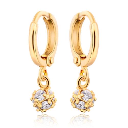18K Or Jaune Plaqué AAA Cubique Zircon petites billes Charme Drop Dangle Earrings