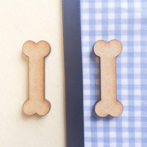 En bois chien os MDF Craft Formes Blanc Décoration Ornements.