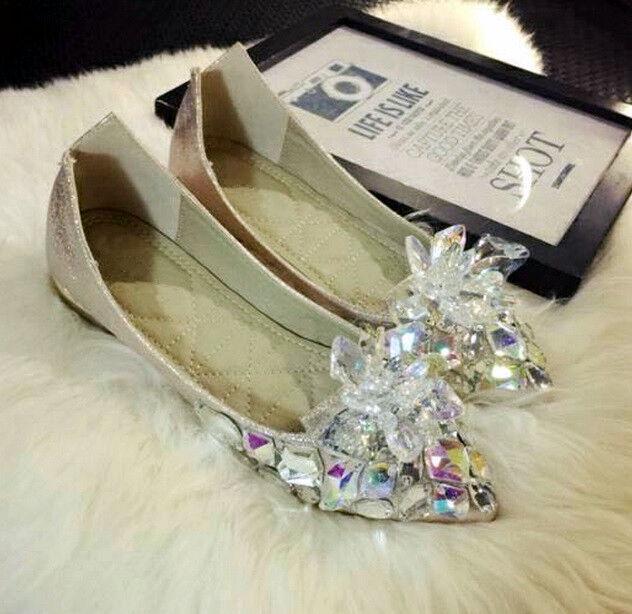 SH788 crystal shoes Cinderella cosplay costume flat shoes BRIDE BRIDAL SLIPPER
