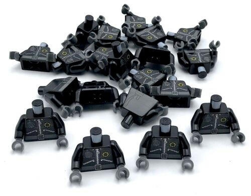Lego 20 New Black Torso Police Zippers Minifig Head Badge Radio Police Town City