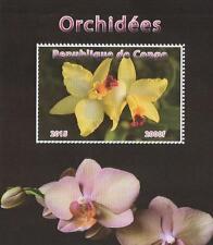 ORCHIDS ORCHIDEES FLOWERS REPUBLIQUE DE CONGO 2015 MNH STAMP SHEETLET