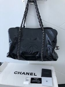ff74611ea9b5 Image is loading CHANEL-Patent-Leather-Luxe-Ligne-Black-bag-Slightly-