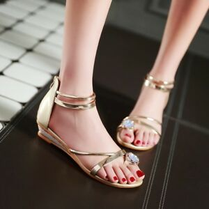 Women Wedge Low Heels Roman Sandals Open Top Rhinestone