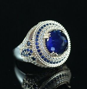 925-Sterling-Silver-Handmade-Authentic-Turkish-Sapphire-Ladies-Ring-Size-7-10