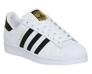d7cb243dd0f7 Mens Adidas Superstar 1 White Black Foundation Trainers Shoes
