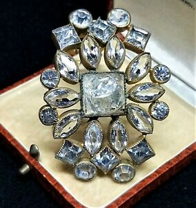 Vintage-Art-Deco-Molded-Crackle-Glass-Gripox-Clear-Crystal-Rhinestone-Dress-Clip