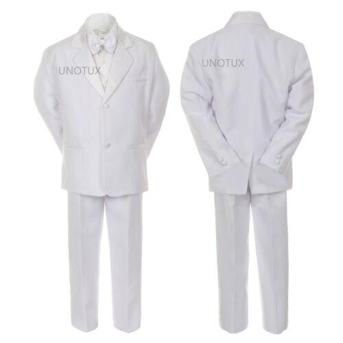 20 TODDLER /& BOY WEDDING 1ST COMMUNION BAPTISM FORMAL TUXEDO SUIT WHITE  Small