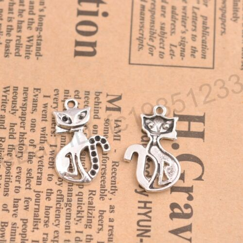 Wholesale 10Pcs Tibetan Silver Cat Charms Pendentifs Bijoux 25x15MM M138