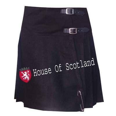 Scottish Ladies Black Tartan Mini Skirt 16 Long Pleated Acrylic Wool/women Kilts