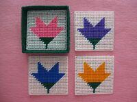 4 Flower Coasters With Storage Box Plastic Canvas Handmade Coasters