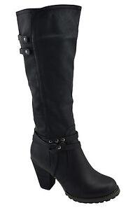 150-Noir-en-Cuir-Synthetique-Mode-Bottes-Hautes-Femmes-Chaussures-Nouvelle-Collection