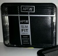 Men's Apt 9 Brand Black Slim Fit Wallet Bi-fold Comes In Decorative Tin