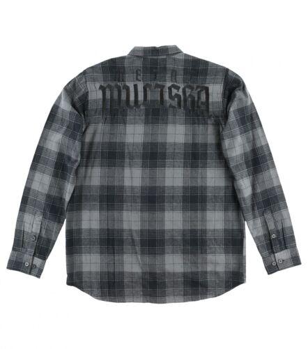 Metal Mulisha STRANGER FLANNEL Grey Heather Black Plaid Button Up Men/'s Shirt