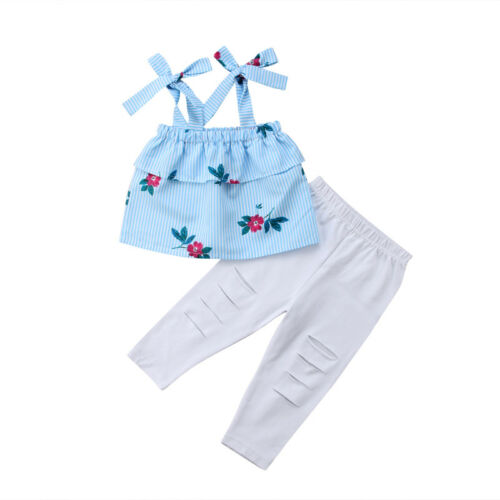 UK Mother/&Daughter Matching Women Girl Floral Striped Tops Pants Family Clothes