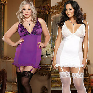 Plus-Size-Lingerie-One-Size-1X2X-or-3X4X-Orchid-or-Pearl-Garter-Chemise-DG8636X