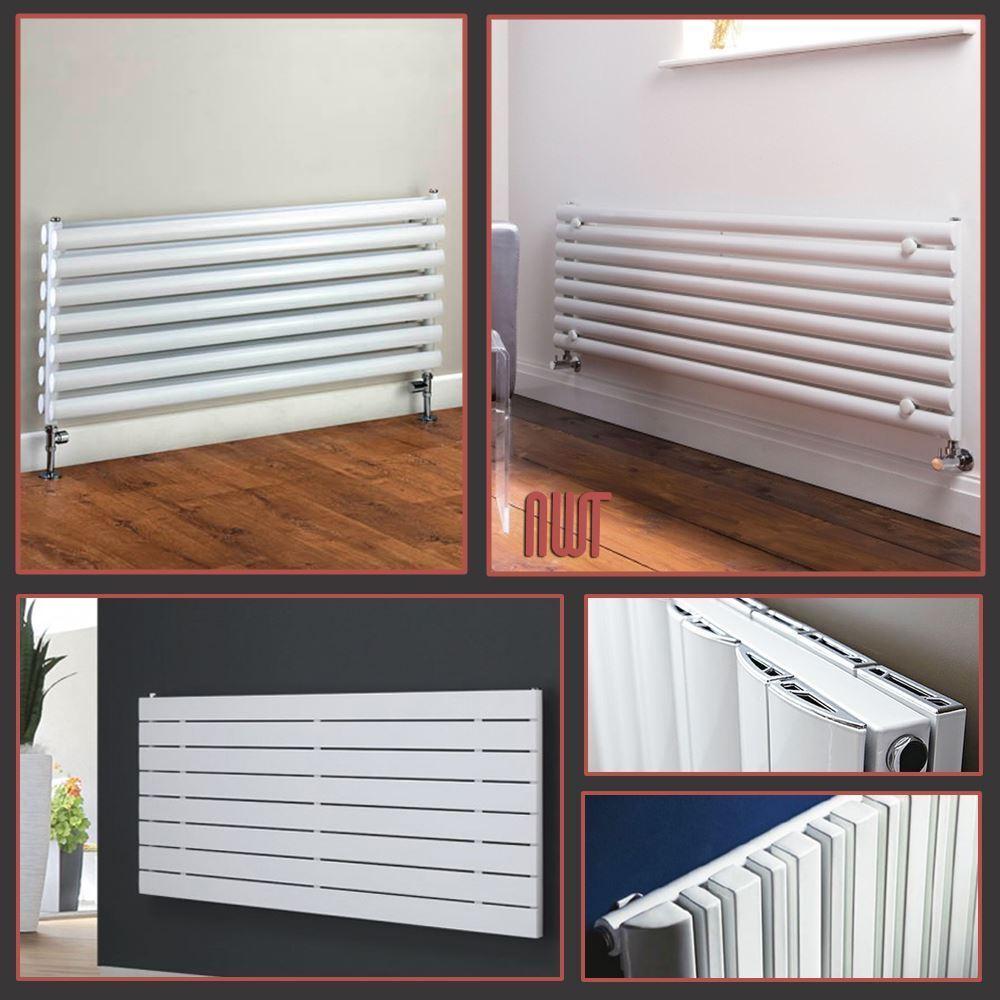 Blanche horizontale designer radiators ovale tube & écrans plats chauffage central rads