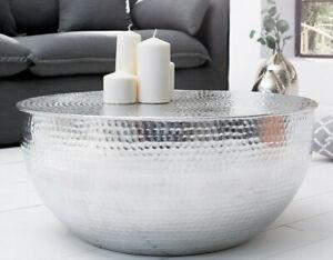 Dettagli su Tavolino da Salotto Tavolo Rotondo Argento 60 Design Alluminio  Metallo