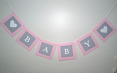 Baby girl banner- bunting flags/garland - Baby Shower - Birth