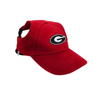 Georgia-Bulldogs-NCAA-Licensed-LEP-Dog-Pet-Baseball-Cap-Red-Hat-Sizes-XS-XL