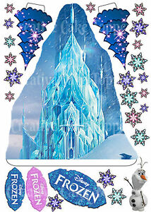Edible Disney FROZEN ICE CASTLE Trees Stand ups Birthday Cake