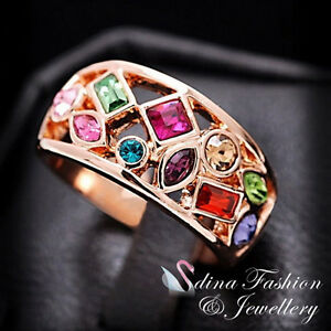 18K-Rose-Gold-Plated-Made-With-Swarovski-Crystal-Hollow-Out-Multicolor-Ring