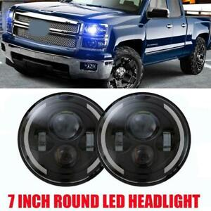 7-Inch-Round-LED-Headlight-Hi-Low-Beam-Angle-Eye-For-Jeep-Wrangler-4x4-Truck-SUV