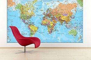 Large Wall Maps Giant World MegaMap Large Wall Map   Paper with front sheet  Large Wall Maps