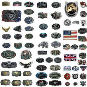 Good Lots Retro Cowboy West Style 3D Patterns Alloy Pin Buckle For 38 40mm Belt