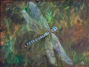 Original-Oil-Painting-by-Anawanitia-of-a-Blue-Dragonfly-Found-Sitting-in-My-Yard