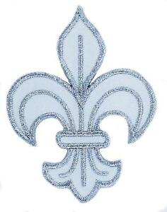 Patch Ecusson Brode Thermocollant Fleur De Lys Blanc Royaliste Louis
