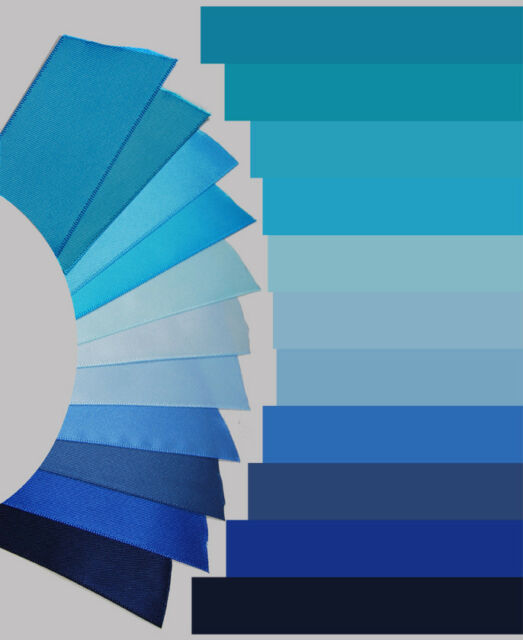 3-yd 1.5 inch SATIN ribbon navy royal slate light blue aqua-teal pastel trim