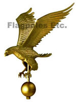 27 Inch Gold Anodized Flagpole Eagle Finial Flag Pole Topper Made In Usa