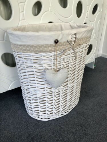 Double Wicker White Storage Laundry Basket With Removable Polka Dot Lining and H