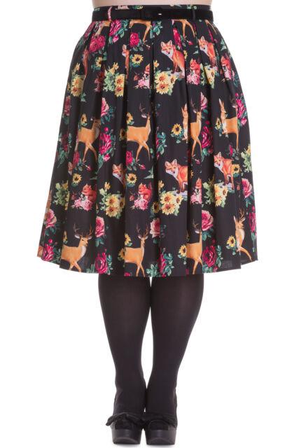 1e522d6e0424 Hell Bunny Cute Kawaii Lolita Forest Animals & Flower Pleated Skirt ...