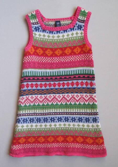 Baby Gap Girls 3 3T Pink Fair Isle Sleeveless Knit Jumper EUC Classic
