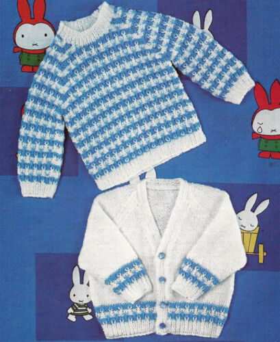 BABY JUMPER /& CARDIGAN KNITTING PATTERN 21//23 INCH 861